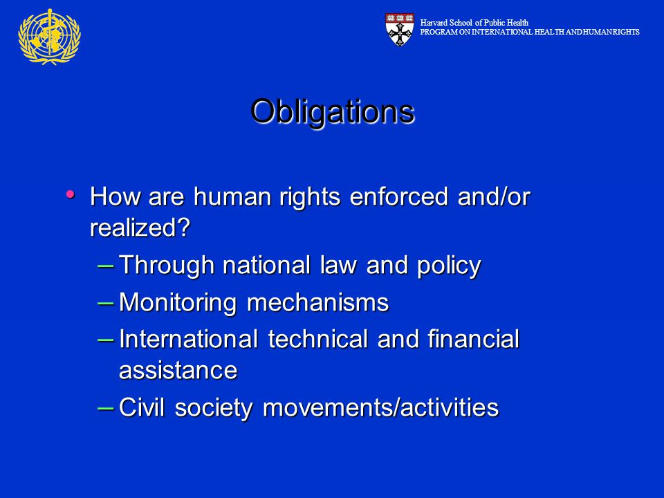 Obligations How are human rights enforced and/or realized.