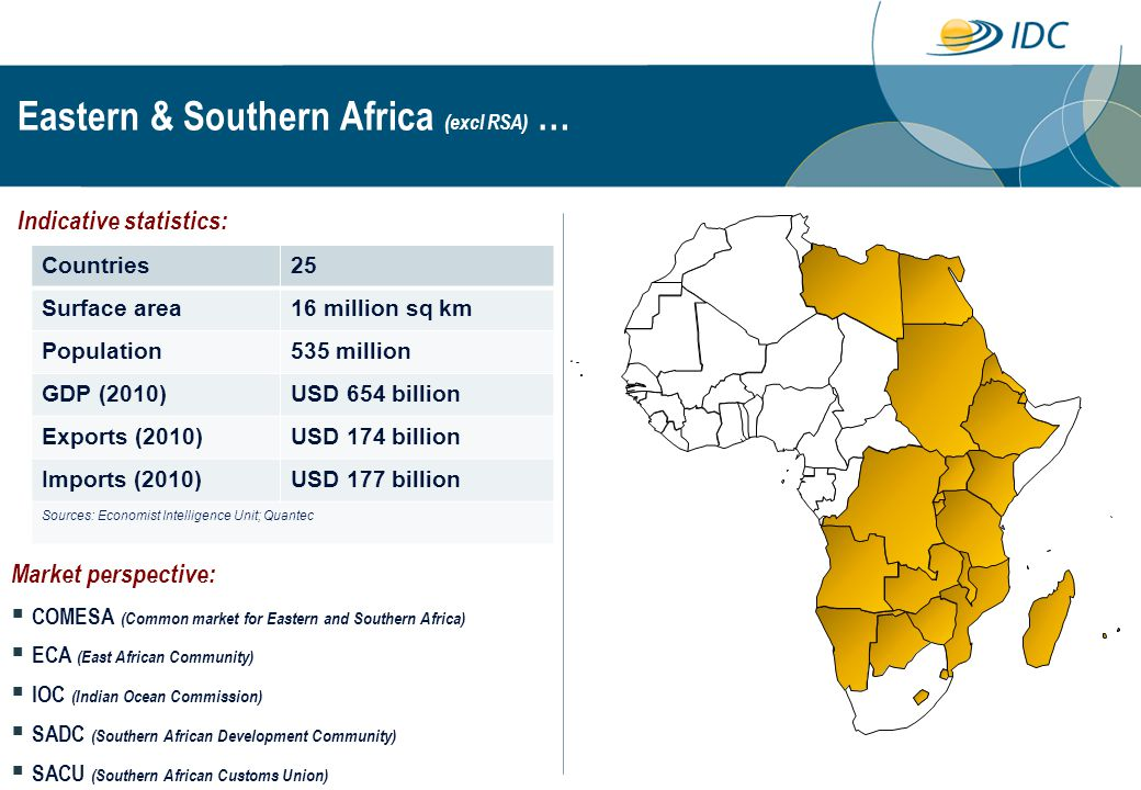 Eastern & Southern Africa (excl RSA) … Countries25 Surface area16 million sq km Population535 million GDP (2010)USD 654 billion Exports (2010)USD 174 billion Imports (2010)USD 177 billion Sources: Economist Intelligence Unit; Quantec Indicative statistics: Market perspective:  COMESA (Common market for Eastern and Southern Africa)  ECA (East African Community)  IOC (Indian Ocean Commission)  SADC (Southern African Development Community)  SACU (Southern African Customs Union)