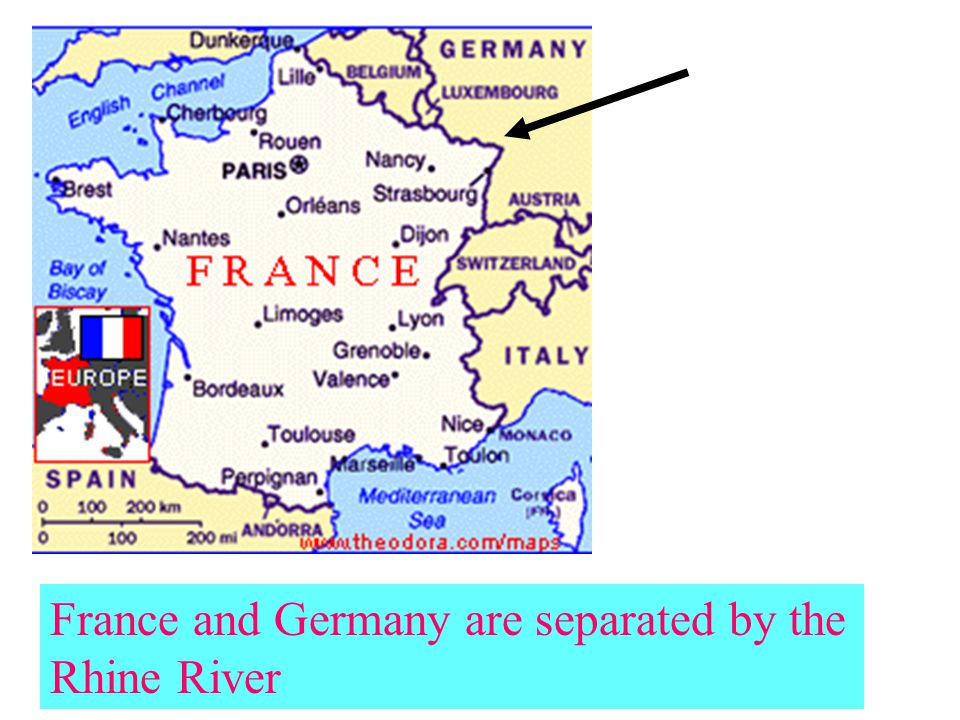 France and Germany are separated by the Rhine River