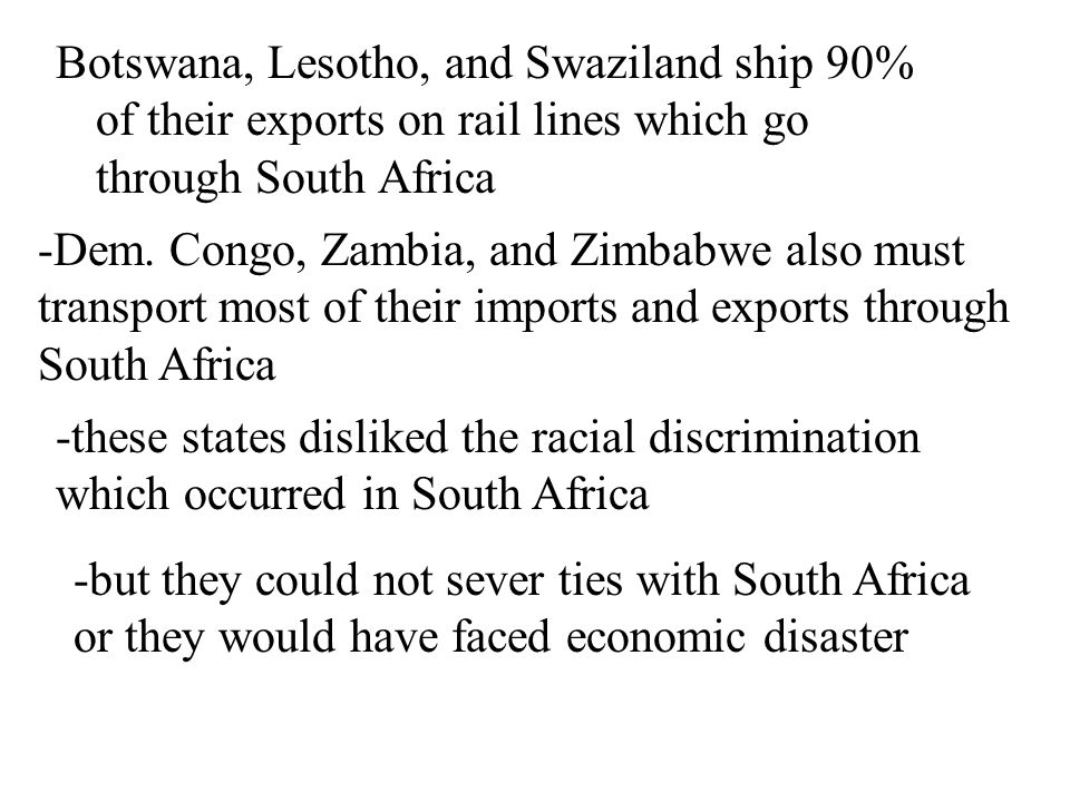 Landlocked states in southern Africa Cooperation between landlocked countries in southern Africa has been complicated by racial patterns -during the c