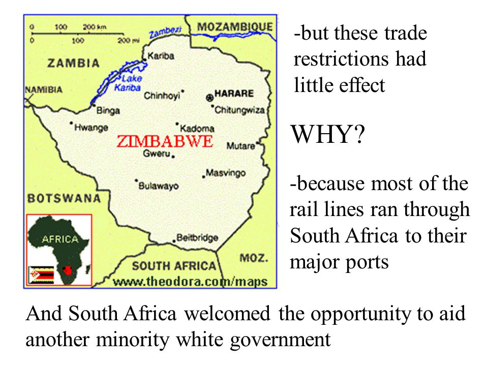 -former British colony known as Southern Rhodesia 1965-white minority declare this an independent country -most other countries reduced or terminated
