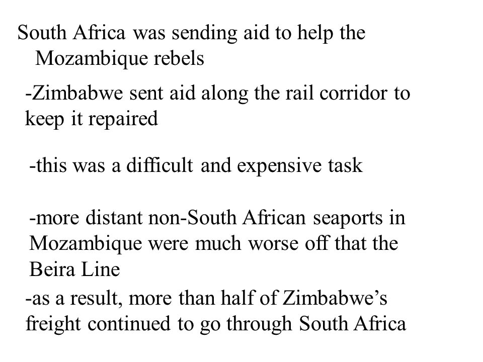 Beira -this rail line was insecure though because Mozambique was in a bloody civil war which lasted from 1976 to 1992