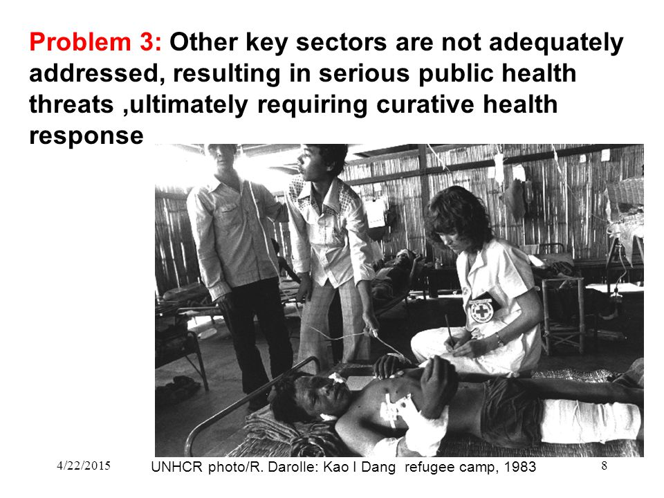 4/22/20158 Problem 3: Other key sectors are not adequately addressed, resulting in serious public health threats,ultimately requiring curative health response UNHCR photo/R.