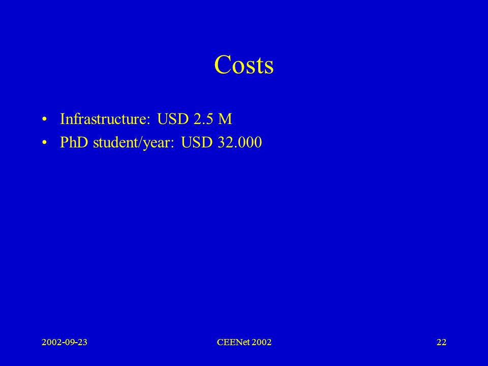 2002-09-23CEENet 200222 Costs Infrastructure: USD 2.5 M PhD student/year: USD 32.000