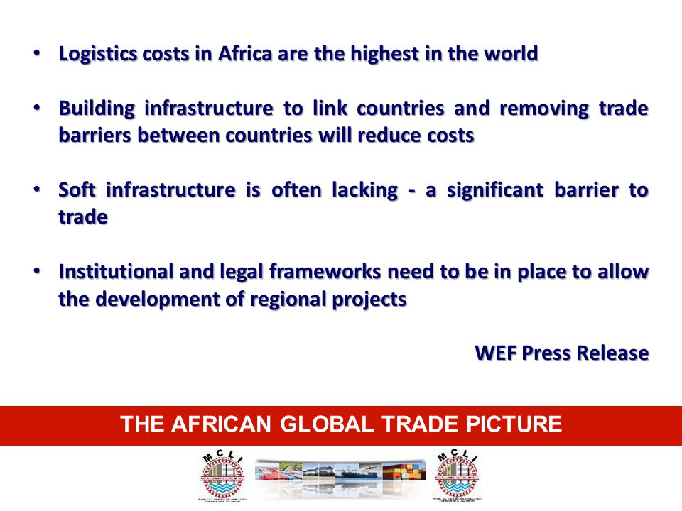 THE AFRICAN GLOBAL TRADE PICTURE Logistics costs in Africa are the highest in the world Logistics costs in Africa are the highest in the world Buildin