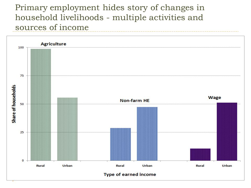 Primary employment hides story of changes in household livelihoods - multiple activities and sources of income