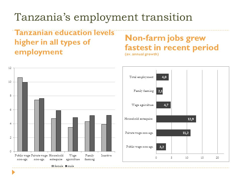 Tanzania's employment transition Tanzanian education levels higher in all types of employment Non-farm jobs grew fastest in recent period (av. annual