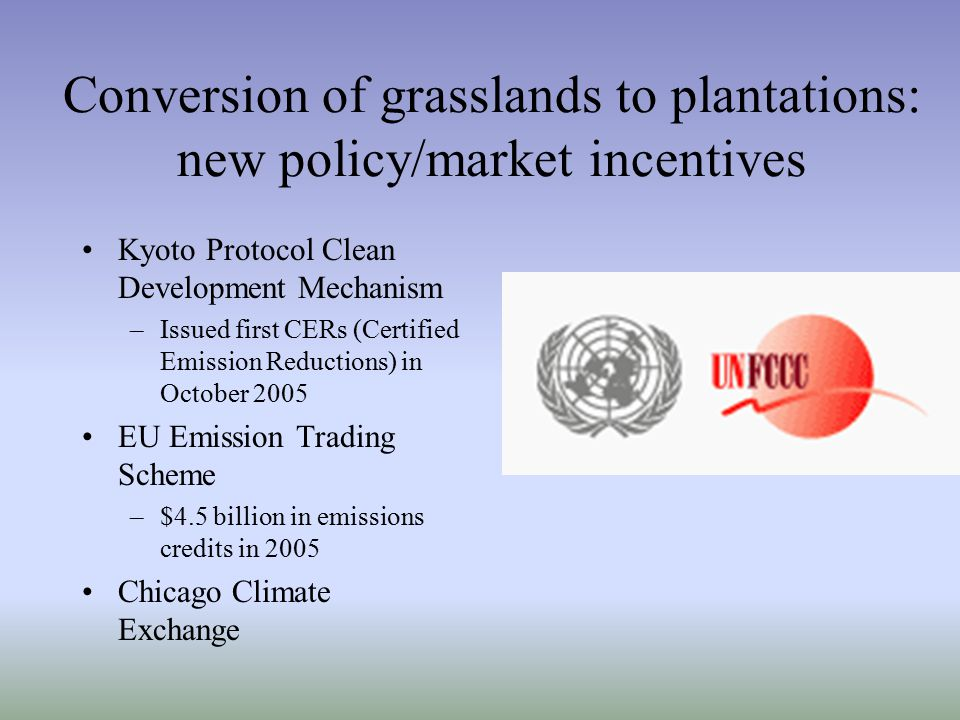 Conversion of grasslands to plantations: new policy/market incentives Kyoto Protocol Clean Development Mechanism –Issued first CERs (Certified Emission Reductions) in October 2005 EU Emission Trading Scheme –$4.5 billion in emissions credits in 2005 Chicago Climate Exchange