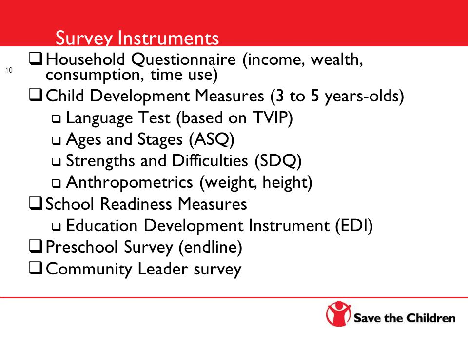Survey Instruments  Household Questionnaire (income, wealth, consumption, time use)  Child Development Measures (3 to 5 years-olds)  Language Test