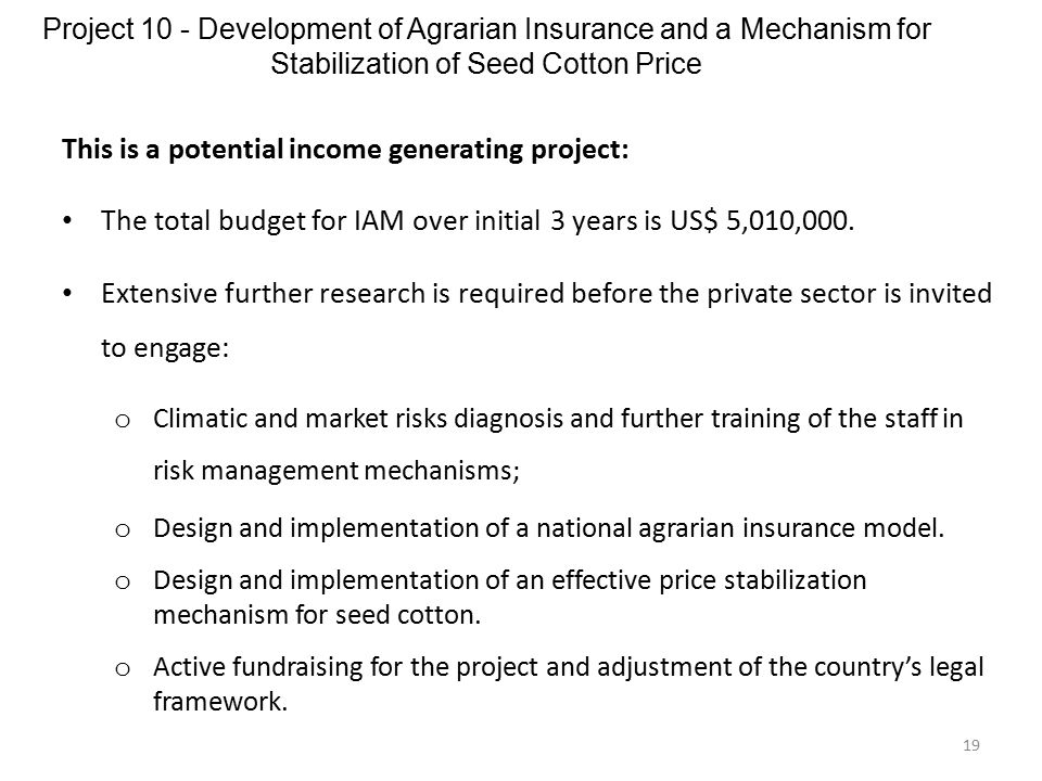 Project 10 - Development of Agrarian Insurance and a Mechanism for Stabilization of Seed Cotton Price 19 This is a potential income generating project