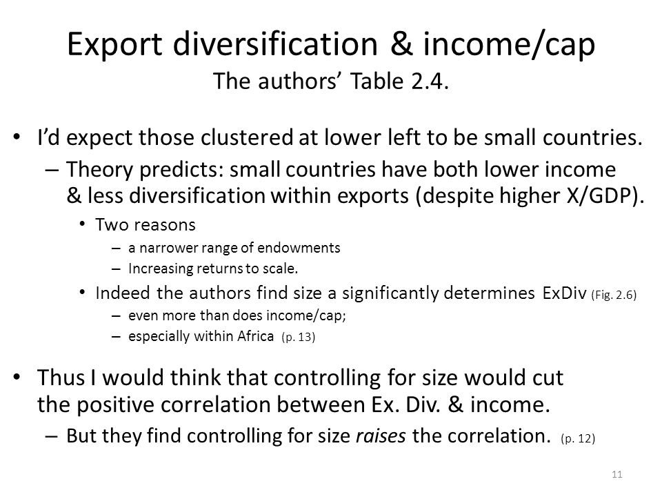 Export diversification & income/cap The authors' Table 2.4.