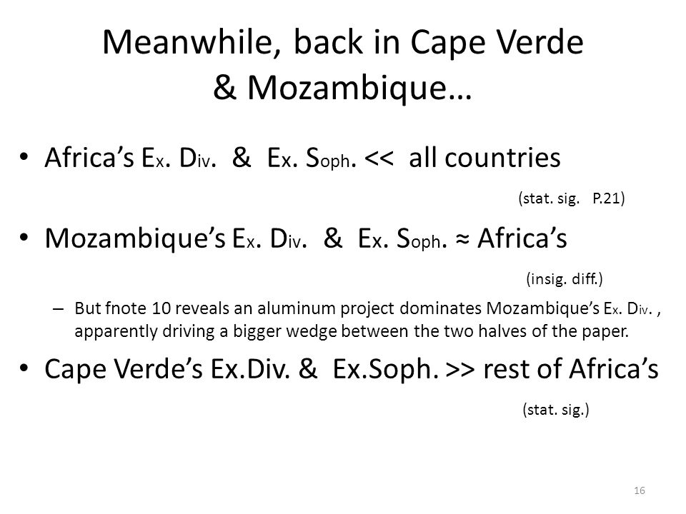 Meanwhile, back in Cape Verde & Mozambique… Africa's E x.