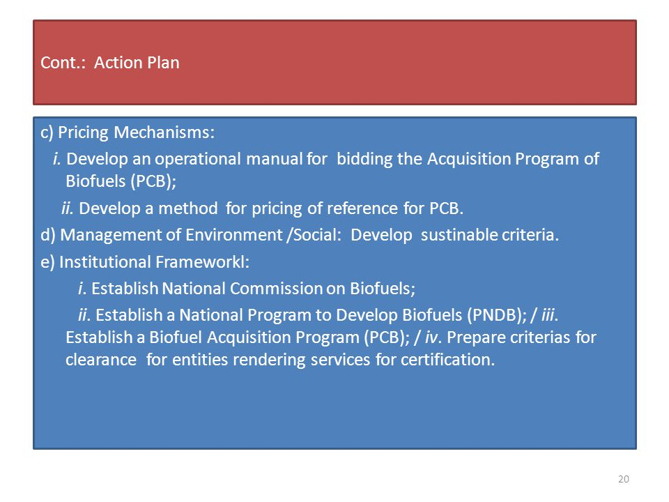 Cont.: Action Plan c) Pricing Mechanisms: i.