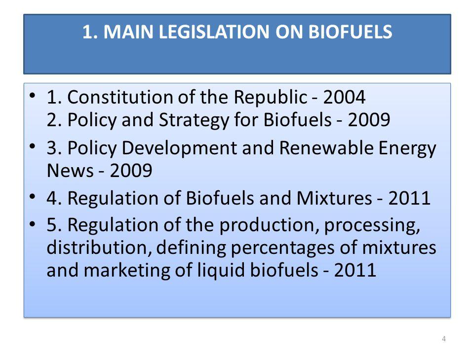 1. MAIN LEGISLATION ON BIOFUELS 1. Constitution of the Republic - 2004 2.
