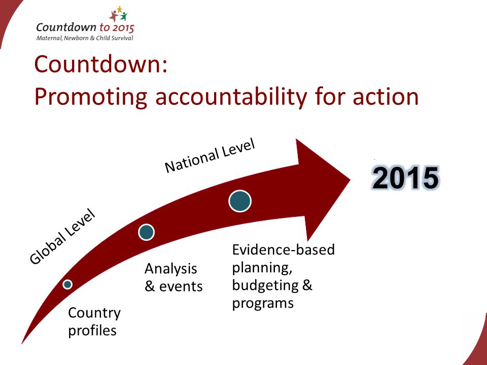 Countdown: Promoting accountability for action Country profiles Analysis & events Evidence-based planning, budgeting & programs National Level Global Level