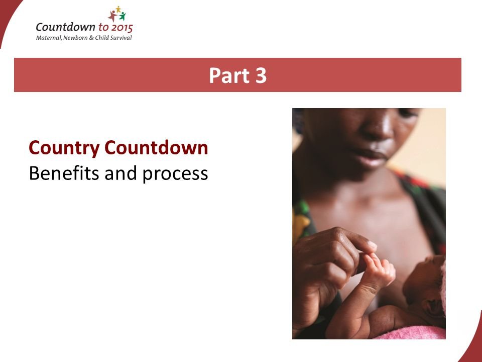 Part 3 Country Countdown Benefits and process
