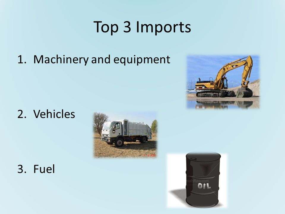Top 3 Imports 1.Machinery and equipment 2.Vehicles 3.Fuel