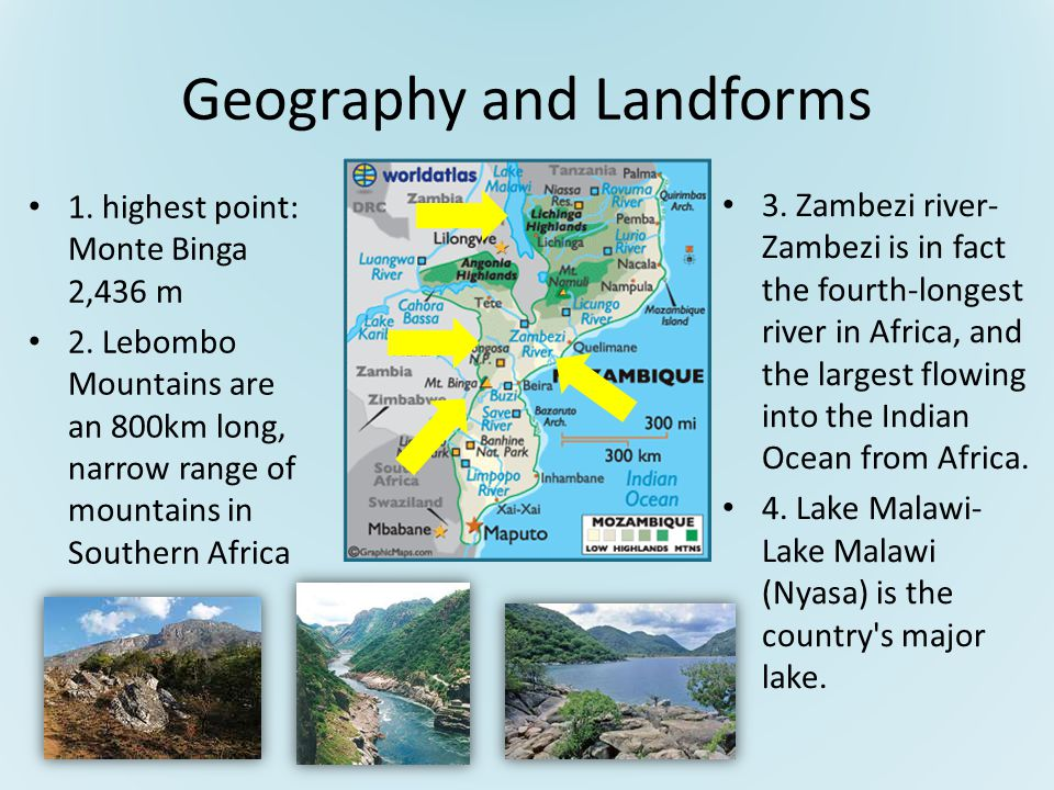 Geography and Landforms 1. highest point: Monte Binga 2,436 m 2.