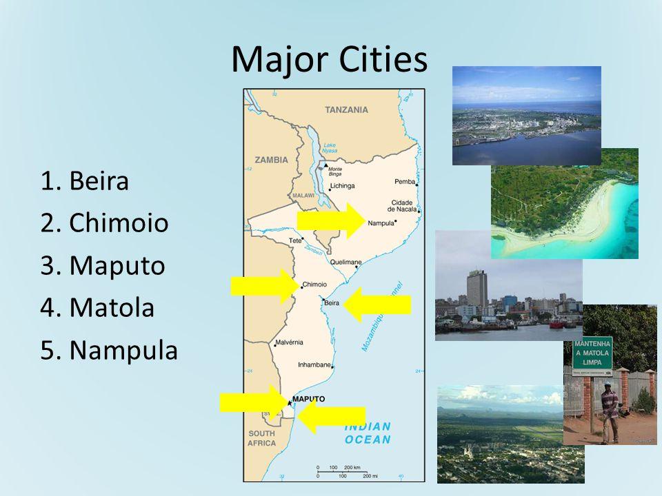 Major Cities 1. Beira 2. Chimoio 3. Maputo 4. Matola 5. Nampula