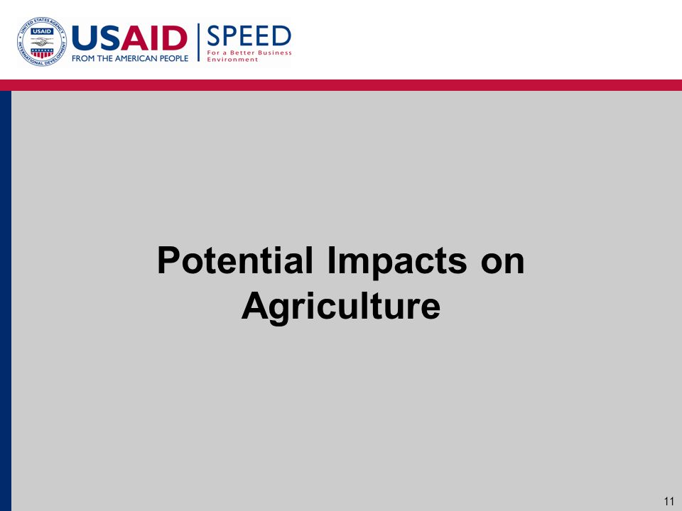Potential Impacts on Agriculture 11