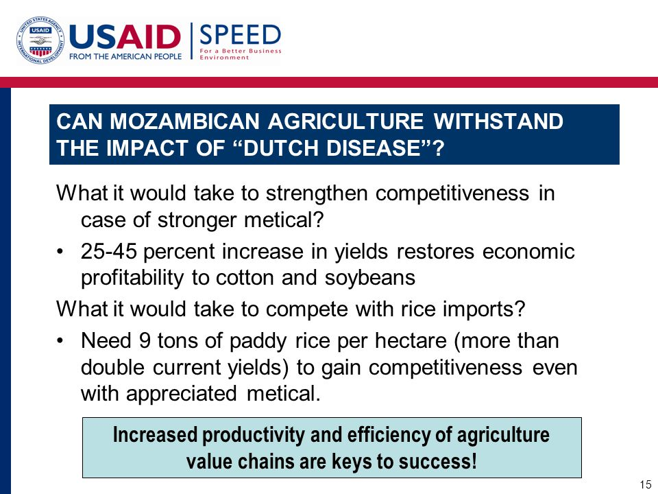 "CAN MOZAMBICAN AGRICULTURE WITHSTAND THE IMPACT OF ""DUTCH DISEASE""? What it would take to strengthen competitiveness in case of stronger metical? 25-4"
