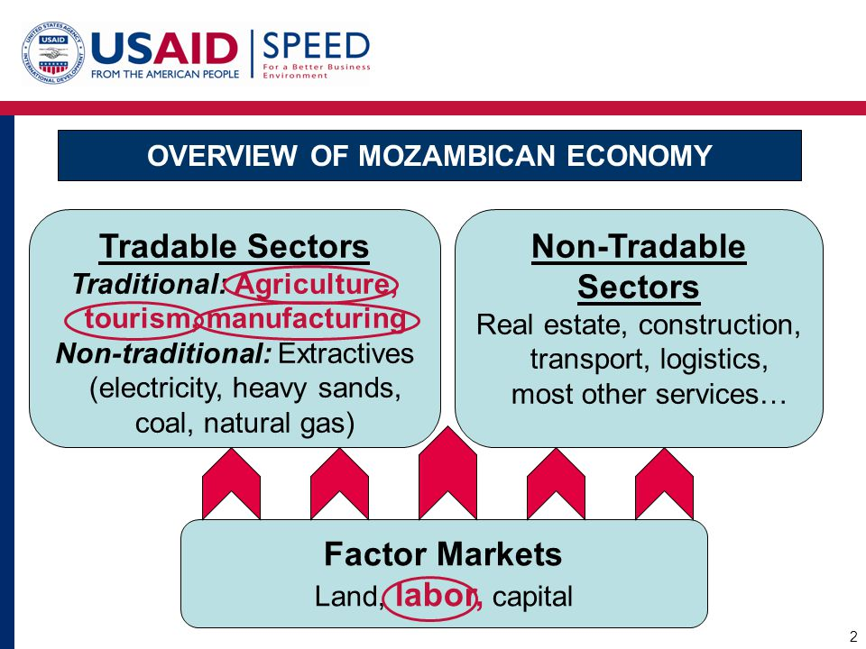OVERVIEW OF MOZAMBICAN ECONOMY Factor Markets Land, labor, capital Tradable Sectors Traditional: Agriculture, tourism, manufacturing Non-traditional: