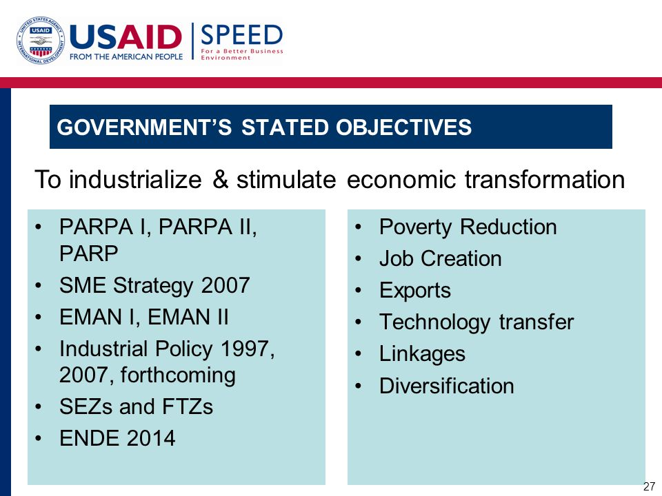 PARPA I, PARPA II, PARP SME Strategy 2007 EMAN I, EMAN II Industrial Policy 1997, 2007, forthcoming SEZs and FTZs ENDE 2014 Poverty Reduction Job Crea