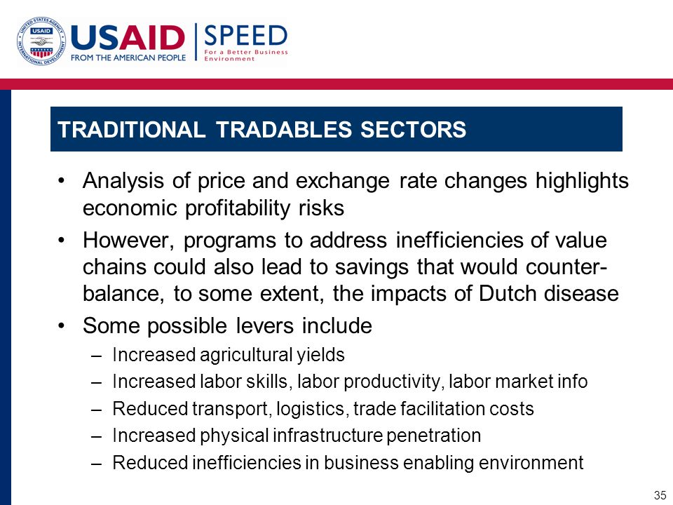 TRADITIONAL TRADABLES SECTORS Analysis of price and exchange rate changes highlights economic profitability risks However, programs to address ineffic
