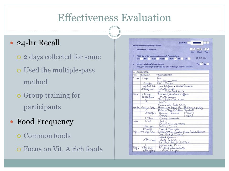 Effectiveness Evaluation 24-hr Recall  2 days collected for some  Used the multiple-pass method  Group training for participants Food Frequency  Common foods  Focus on Vit.