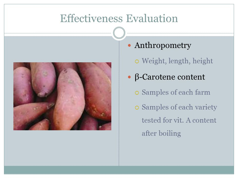 Effectiveness Evaluation Anthropometry  Weight, length, height β-Carotene content  Samples of each farm  Samples of each variety tested for vit.