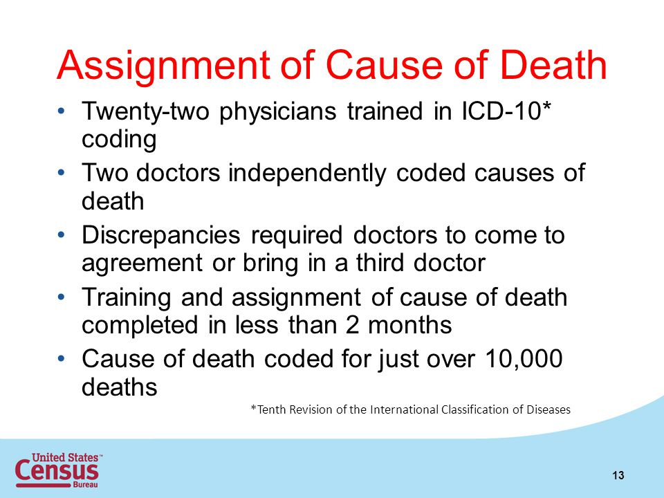 Assignment of Cause of Death Twenty-two physicians trained in ICD-10* coding Two doctors independently coded causes of death Discrepancies required doctors to come to agreement or bring in a third doctor Training and assignment of cause of death completed in less than 2 months Cause of death coded for just over 10,000 deaths 13 *Tenth Revision of the International Classification of Diseases