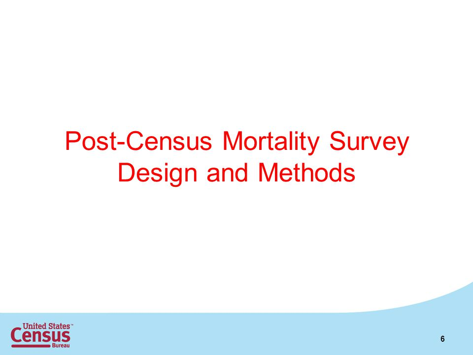 Post-Census Mortality Survey Design and Methods 6