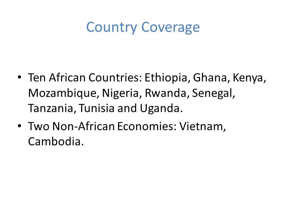 Country Coverage Ten African Countries: Ethiopia, Ghana, Kenya, Mozambique, Nigeria, Rwanda, Senegal, Tanzania, Tunisia and Uganda.
