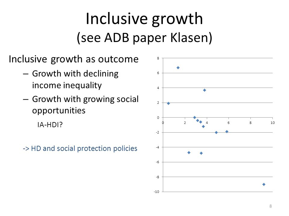 Inclusive growth as process Expanding equal opportunities and access – Social (as above) – Infrastructure – Etc Measurement not clear, possibly at project level -> can / should we include governance and social development indicators .