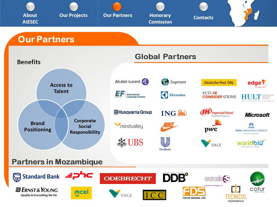 Global Partners Our Partners Partners in Mozambique About AIESEC Our PartnersHonorary Comission Contacts Our Projects Benefits