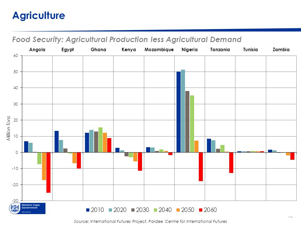 © Western Cape Government 2012 | Agriculture Go to Insert > Header & Footer > Enter presentation name into footer field 37 Food Security: Agricultural Production less Agricultural Demand Source: International Futures Project, Pardee Centre for International Futures