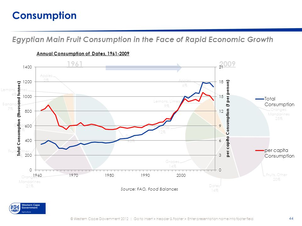© Western Cape Government 2012 | Consumption Egyptian Main Fruit Consumption in the Face of Rapid Economic Growth Go to Insert > Header & Footer > Enter presentation name into footer field 44
