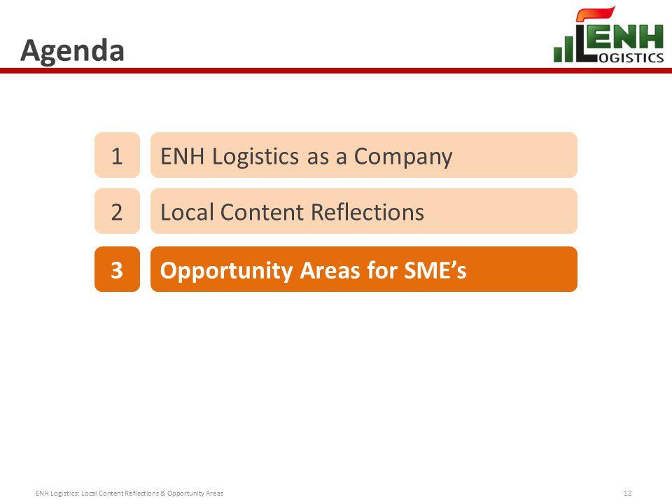 Agenda ENH Logistics: Local Content Reflections & Opportunity Areas12 1ENH Logistics as a Company 2Local Content Reflections 3Opportunity Areas for SME's