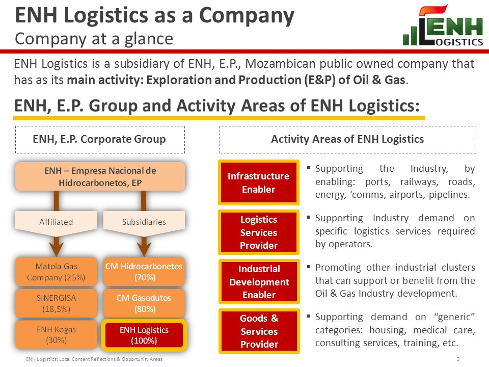 ENH Logistics as a Company Our Vision, Mission and Values 4  Provide profitable logistics services, with high quality and safety standards, to support the Oil & Gas companies in Mozambique, contributing to the development of the country through diversified areas of participation and by implementing socio-environmental responsibility policies that can benefit the local community, while providing a sustainable growth to our activities.