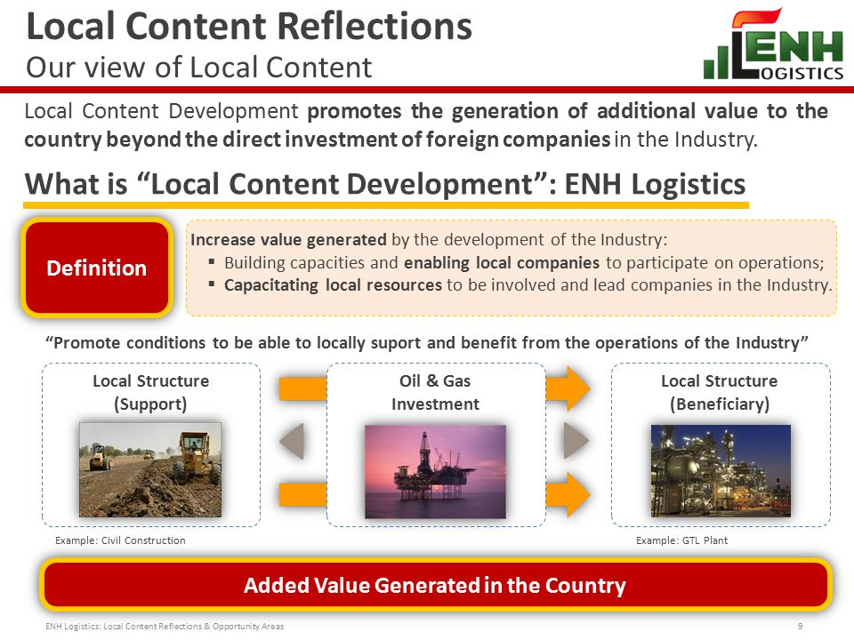 Local Content Reflections Roadmap of Local Content Program 10 Considering the previously mentioned guidelines and our will to mobilize this Industry towards this objective, ENH Logistics is proposing to follow this roadmap of activities: Proposed Roadmap – Local Content Program: ENH Logistics: Local Content Reflections & Opportunity Areas