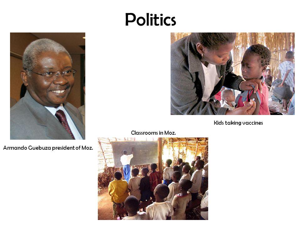 Politics Armando Guebuza president of Moz. Classrooms in Moz. Kids taking vaccines
