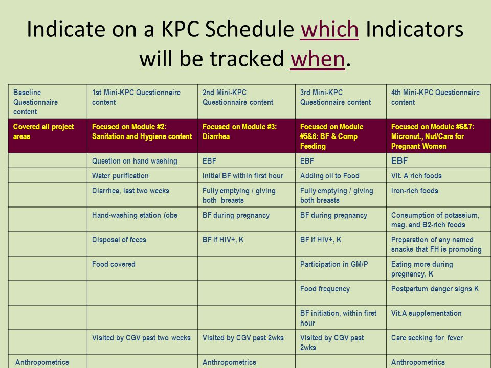 Indicate on a KPC Schedule which Indicators will be tracked when.