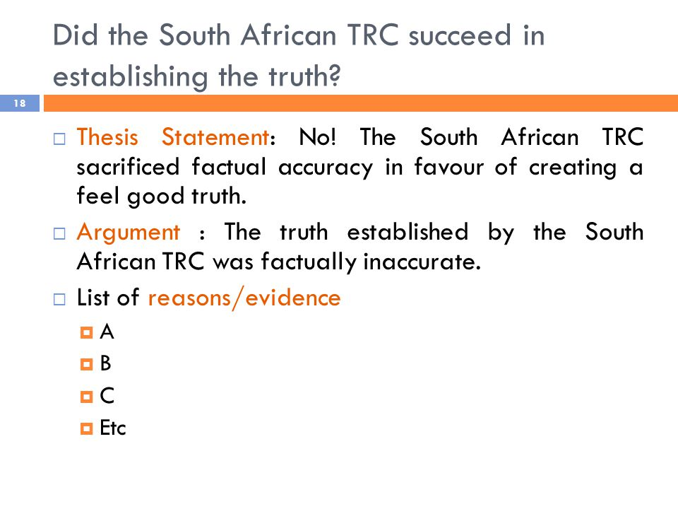 Did the South African TRC succeed in establishing the truth.
