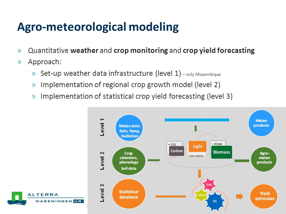 7 th EU GEO Projects Workshop (GEPW-7), Barcelona, 15-16 April 201313 Agro-meteorological modeling » Quantitative weather and crop monitoring and crop yield forecasting » Approach: » Set-up weather data infrastructure (level 1) – only Mozambique » Implementation of regional crop growth model (level 2) » Implementation of statistical crop yield forecasting (level 3)