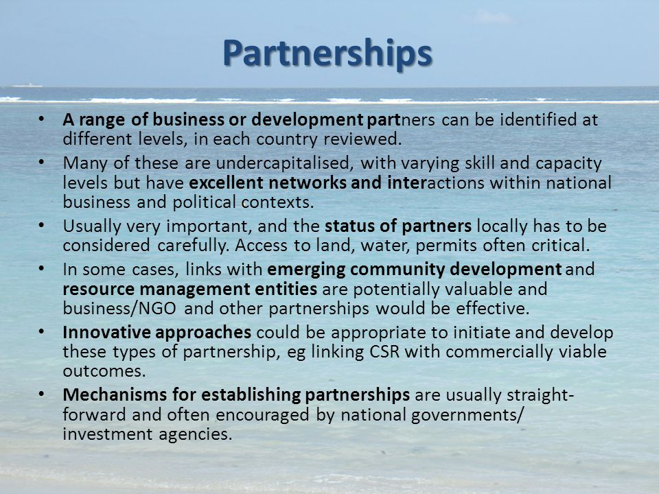 Partnerships A range of business or development partners can be identified at different levels, in each country reviewed.