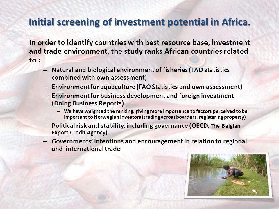 Initial screening of investment potential in Africa.