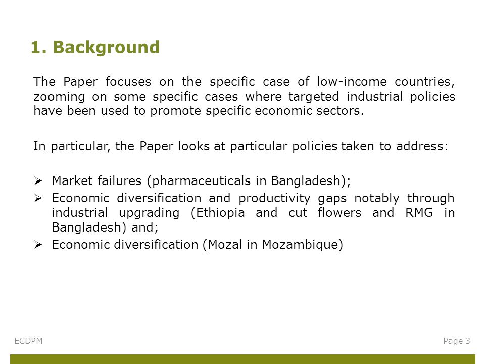 The Paper focuses on the specific case of low-income countries, zooming on some specific cases where targeted industrial policies have been used to promote specific economic sectors.