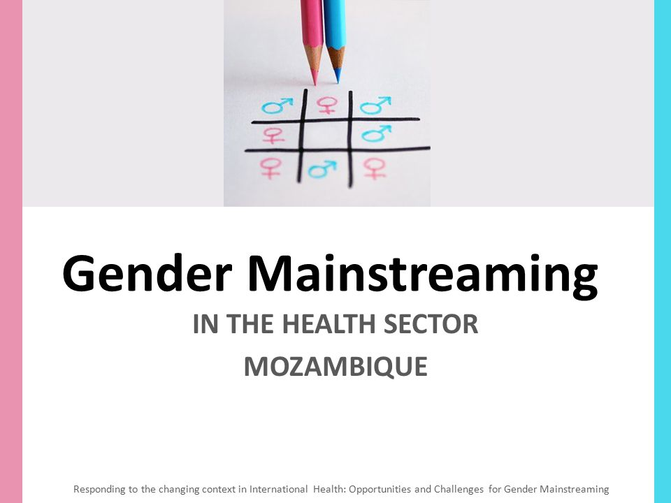 Gender Mainstreaming IN THE HEALTH SECTOR MOZAMBIQUE Responding to the changing context in International Health: Opportunities and Challenges for Gend