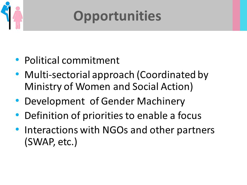 Opportunities Political commitment Multi-sectorial approach (Coordinated by Ministry of Women and Social Action) Development of Gender Machinery Defin
