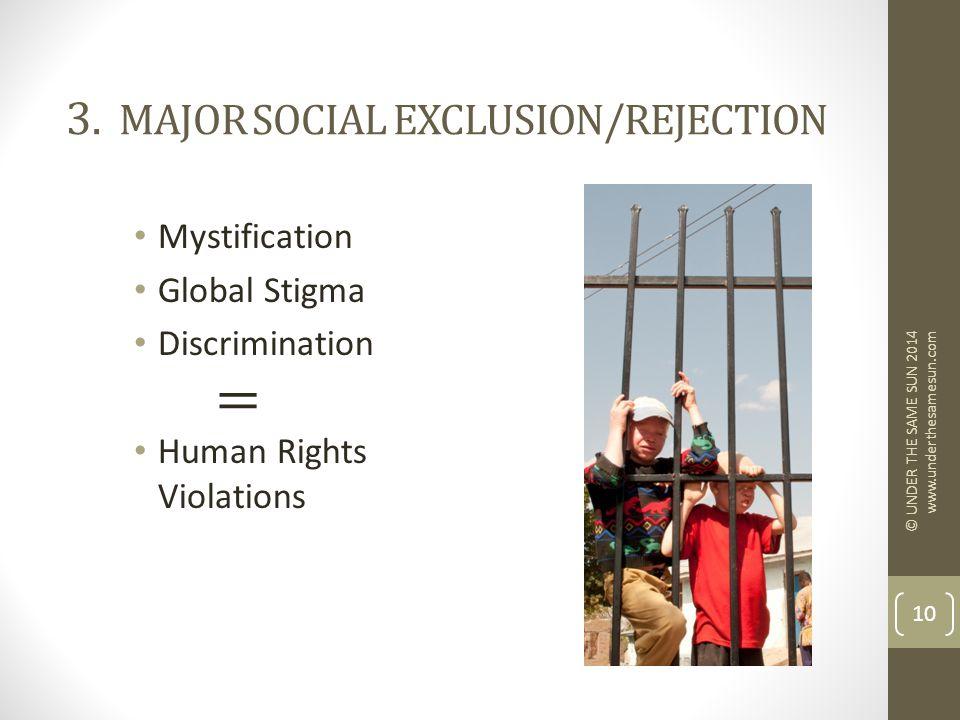 3. MAJOR SOCIAL EXCLUSION/REJECTION Mystification Global Stigma Discrimination Human Rights Violations © UNDER THE SAME SUN 2014 www.underthesamesun.c